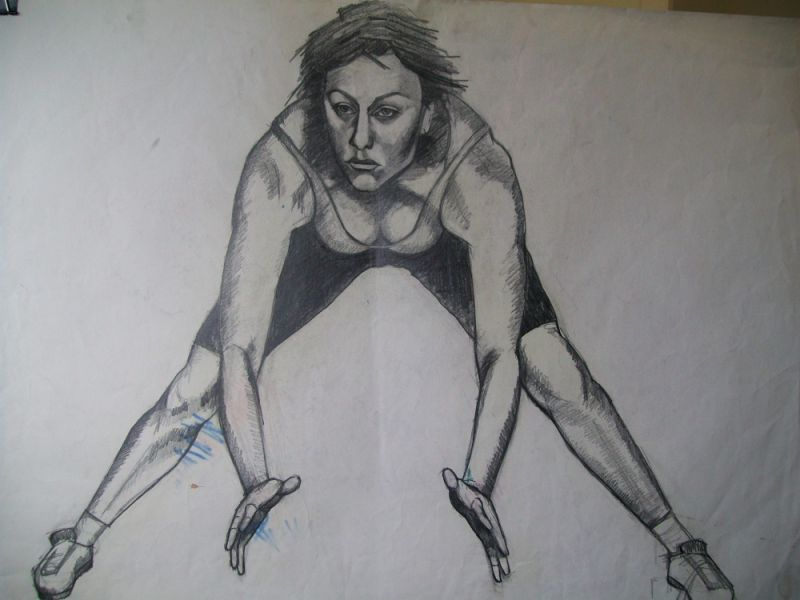 pencil sketch of young, girl done whilst attending keep fit classes