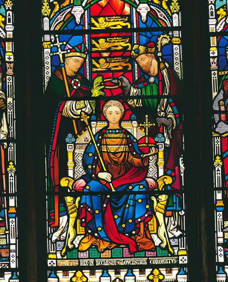 The first coronation of Henry III, from a window at Gloucester Cathedral