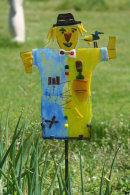 Scarecrow with bird on shoulder                                                SOLD