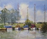 Yachts Moored Near Thurne Mill, Norfolk.
