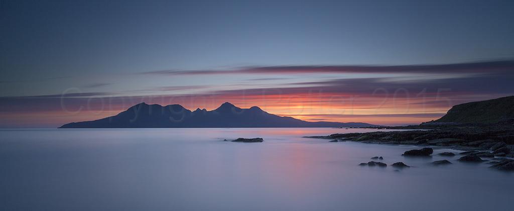 6919 Sunset over Rhum PANORAMA Laig Bay Isle of Eigg