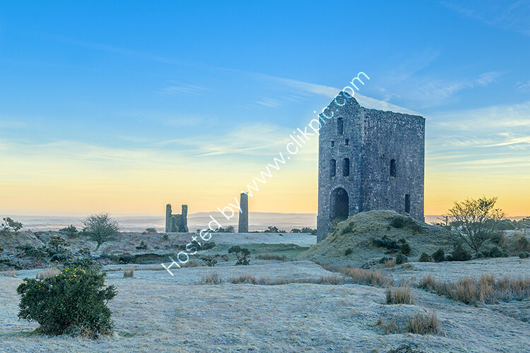 The Wheal Jenkin Mine, stamp and pump engine houses. At Minions on Bodmin Moor