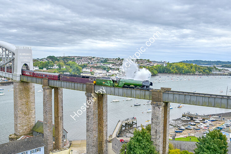 The Flying Scotsman making its first crossing into Cornwall. Crossing the IK Brunel Bridge at Saltash on 6th October 2018.