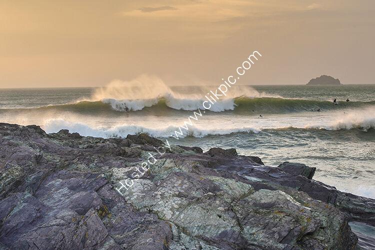 Surfing at Polzeath.
