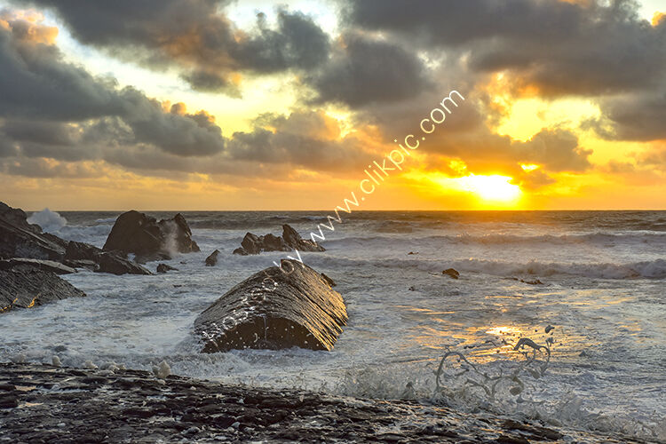 A breezy sunset off the Bude Breakwater.