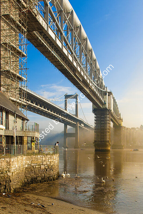 A early morning view of the bridges crossing the River Tamar into Cornwall.