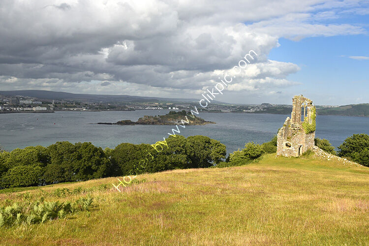 The Folly at Mt edgcumbe, with Drakes Island in the distance.