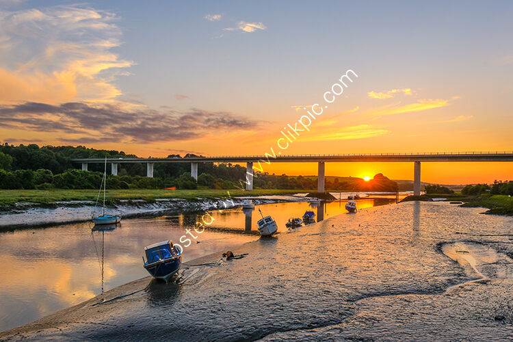 A sunset over the River Camel at Wadebridge.