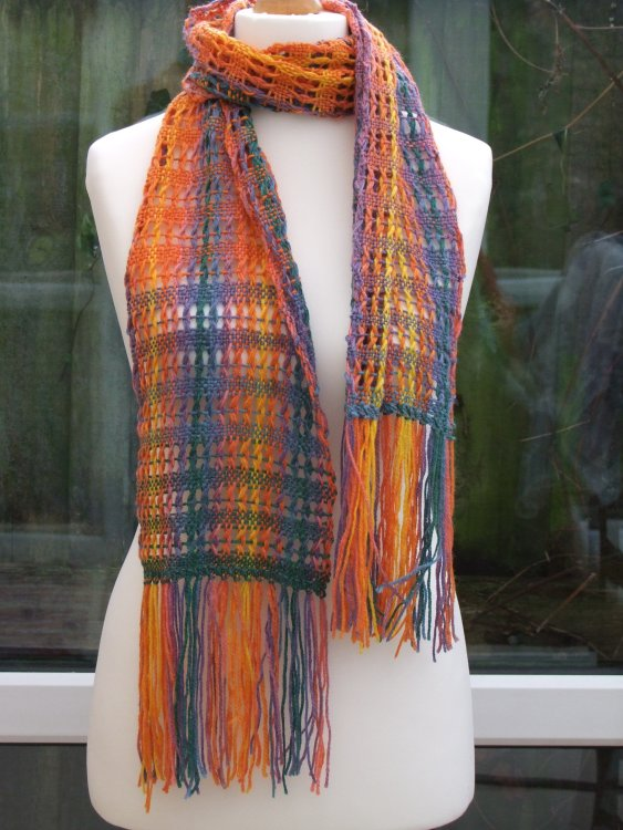 Multicoloured Open Weave Scarf