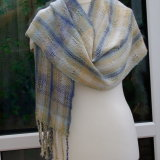 Blue/beige & White  Soft Shawl