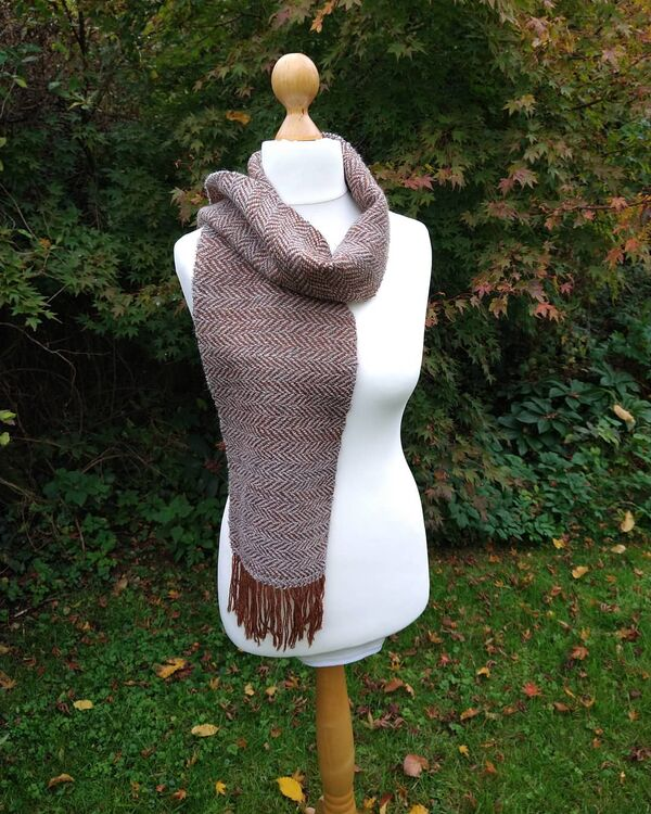 Blue Grey and Brown Wool Scarf