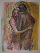 embracing couple 1  Lithograph 76x56cm
