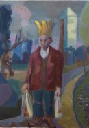 man with paper crown