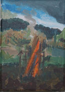 Allotment Fire acrylic on canvas 17x12cm