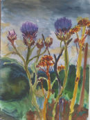 cardoons in flower watercolour 52x42cm SOLD