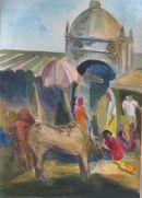 Diu market Watercolour 43x33cm