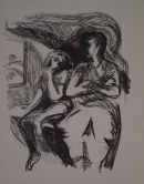 father and daughter Lithograph 52x42cm