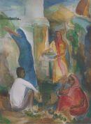 market place Gujarat Watercolour 52cmx42cm