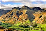 Langdale Pikes from Lingmoor Fell.