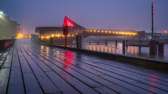 'Scale Lane Swing Bridge at Dawn'