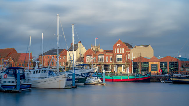 'Hull Marina and Minister at Sunset'