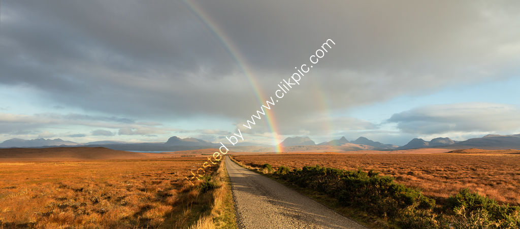 Rainbow over Assynt Mountains