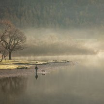 Dog Walker and Misty Derwent Water