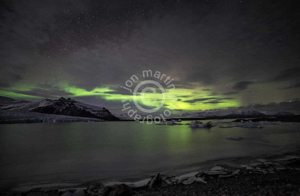 Aurora over Fjallsarlon