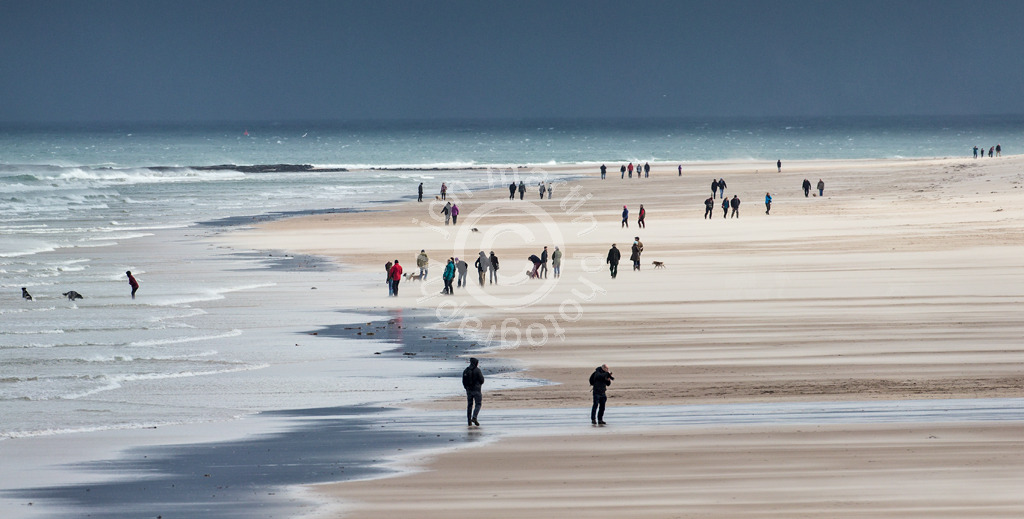 Walking on Bamburgh Beach