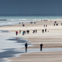 Walking on Bamburgh Beach