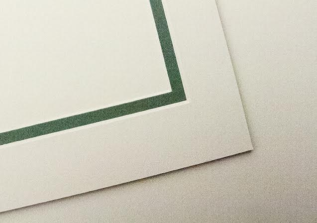 Pale Ivory card mount with soft green border