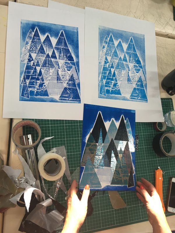 Participant's collagraph plates and prints.