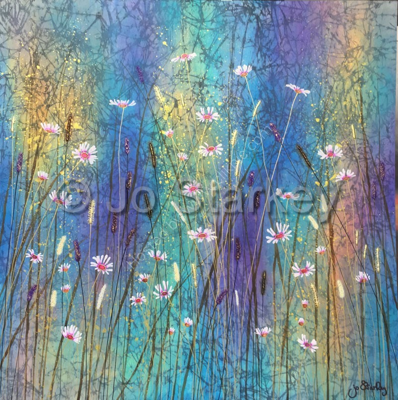 Contemporary Painting with Wild Grass and Daisies