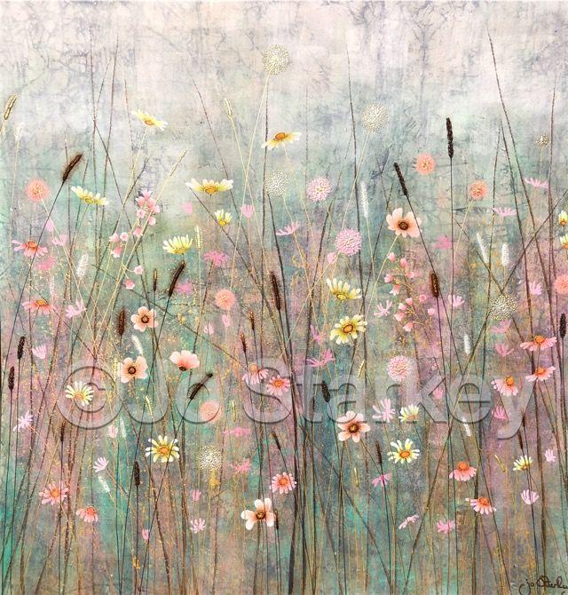 Pink Meadow Painting by Jo Starkey