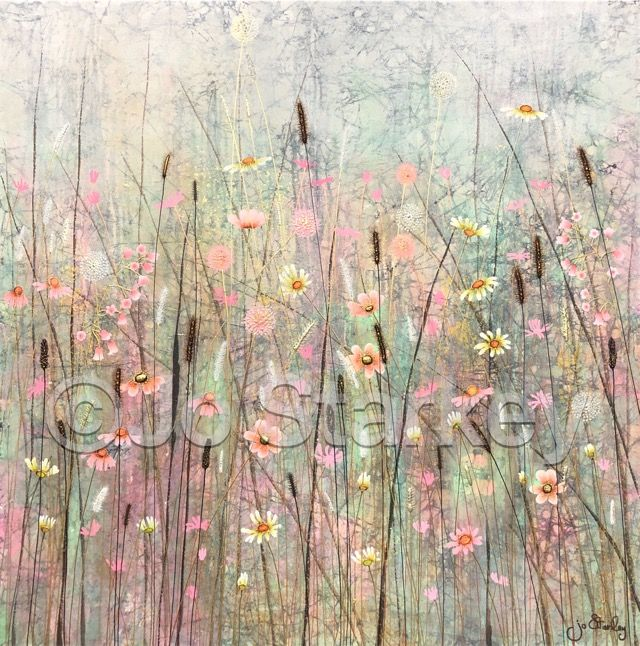 'Pink Meadow Flowers by Jo Starkey'