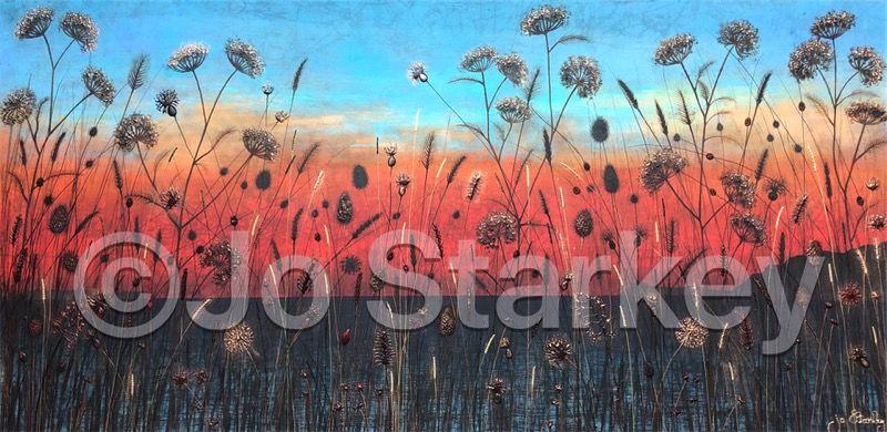 'Red Sunset Seascape Painting by Jo Starkey'