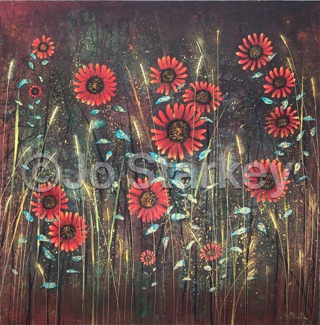 Red Sunflowers by Jo Starkey