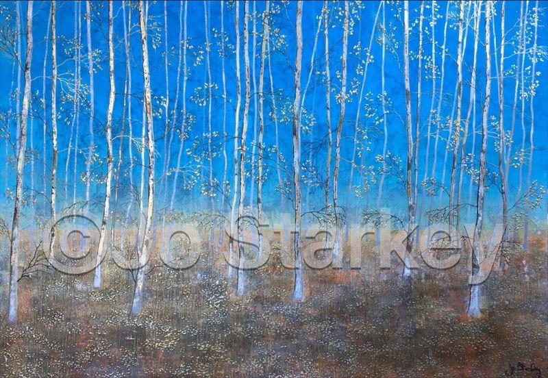 'Silver Birch Woodland Painting by Jo Starkey'
