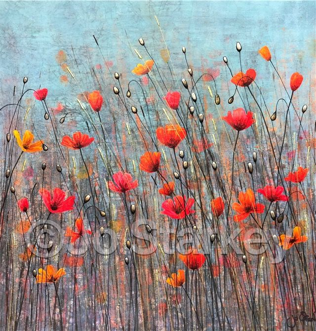'Red and Yellow Poppies by Jo Starkey'