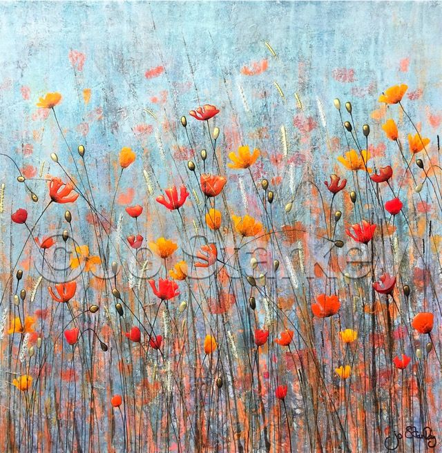'Textured Poppy Landscape by Jo starkey'