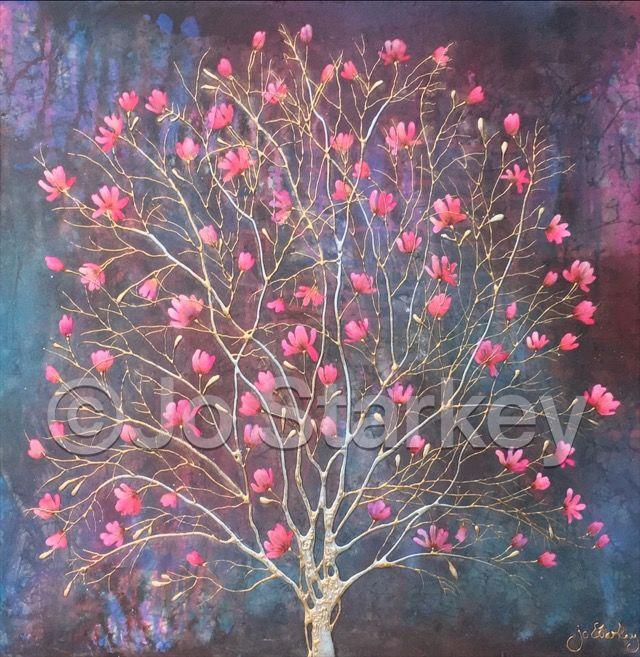 Pink Magnolia Tree Painting by Jo Starkey