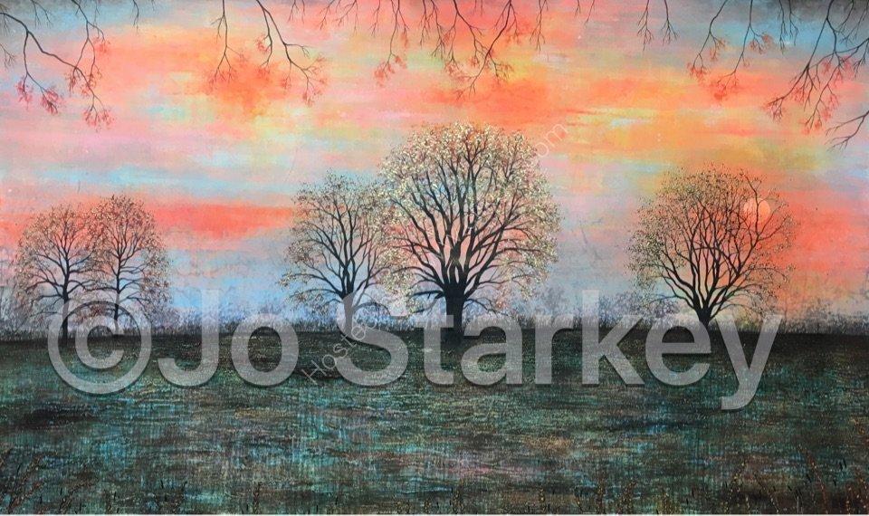 'Sunset Tree Landscape by Jo Starkey'