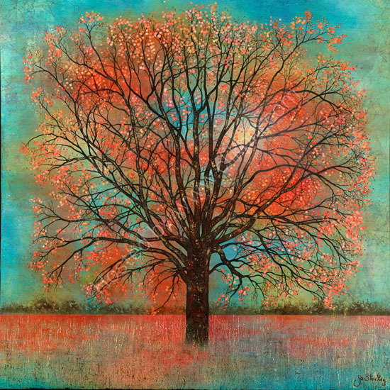 'Autumnal Tree Painting by Jo Starkey'