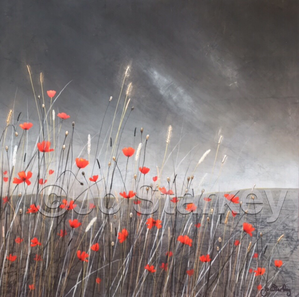'Monotone Landscape with Red Poppies'