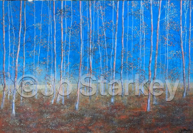 'Silver Birch Woodland Painting by Jo Starkey'