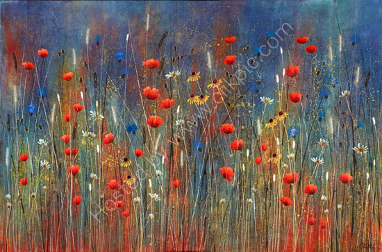 Landscape Meadow Painting by Jo Starkey