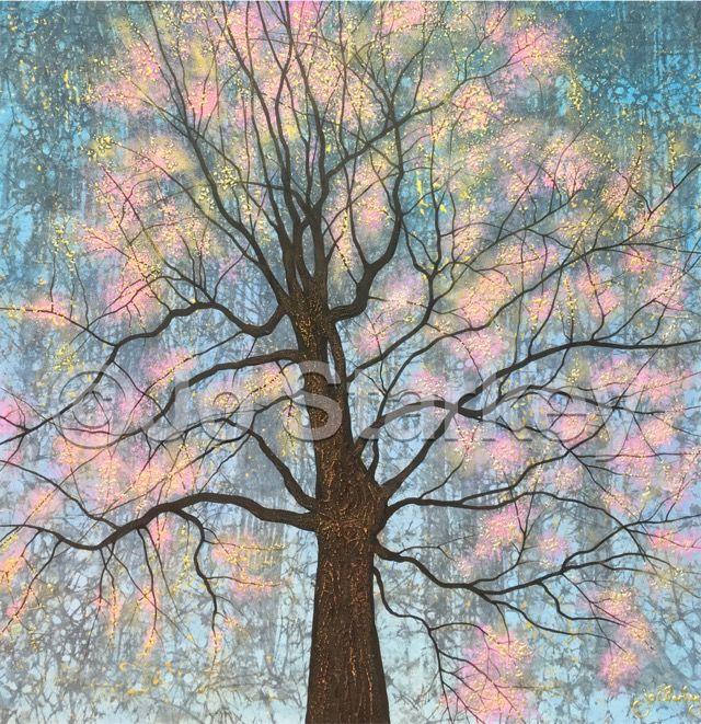 'Textured Tree painting by Jo Starkey'