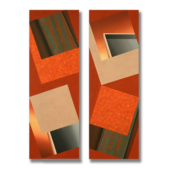 4 Squares (3), Diptych, Acrylic on Canvas, each section 51 x 153cm
