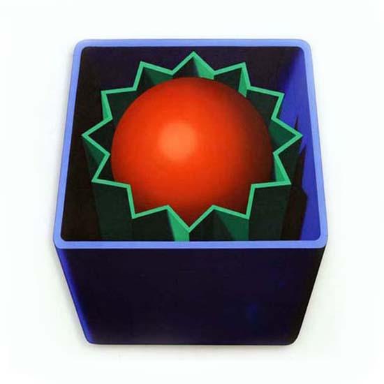 Blue Box/Green Star/Red Sphere, Acrylic/Canvas/Board, 80cm x 88cm