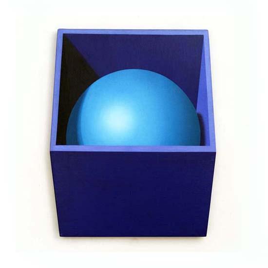 Blue Box/Turquoise Sphere, Acrylic/Canvas/Board, 48 x 59cm
